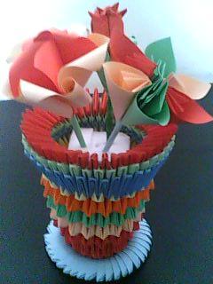 3d origami vases