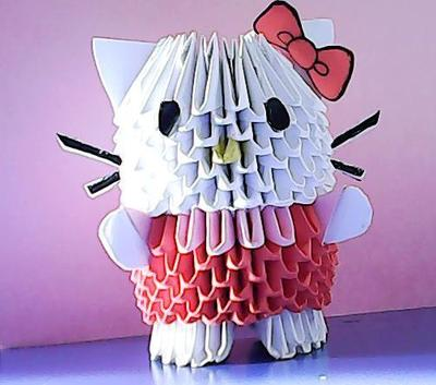 This is my 3d origami hello kitty