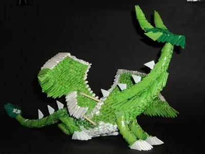 modular origami bunny and horned dragon