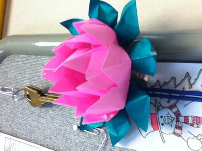 Lotus origami with stem