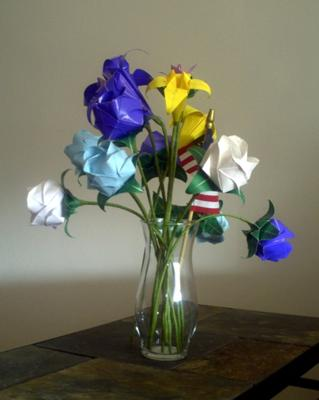 Origami flowers arrangement.