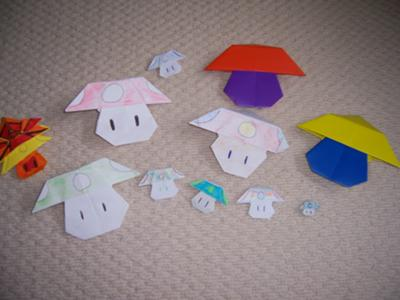 origami mushrooms!