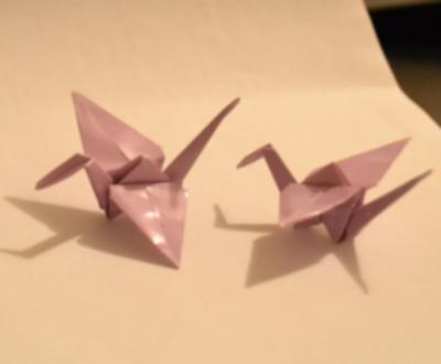 Some origami cranes