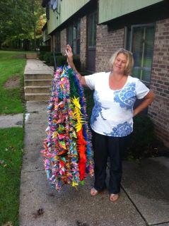 Here's me holding 2000 cranes