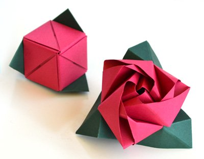 This is the cube rose when it is closed, and when it is opened! <BR>This model was designed by Valerie Vann ... and then Joel created this new set of diagrams for it
